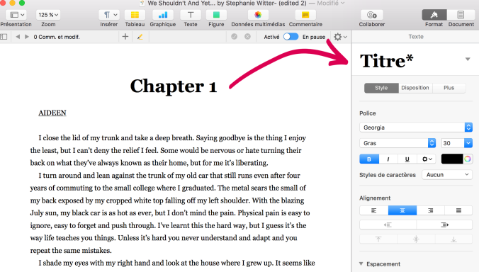 what size font for ebook chapter titles